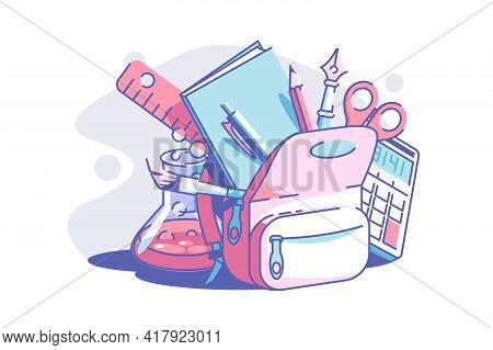 Stationery For School Vector Illustration. Backpack With