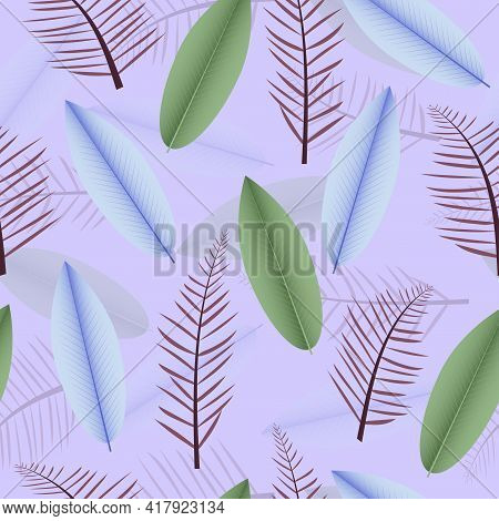 Modern Seamless Ditsy Pattern Design Of Tropical Palm And Heliconia Leaves. Artistic Vector Repeatin