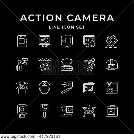 Set Line Icons Of Action Camera Isolated On Black