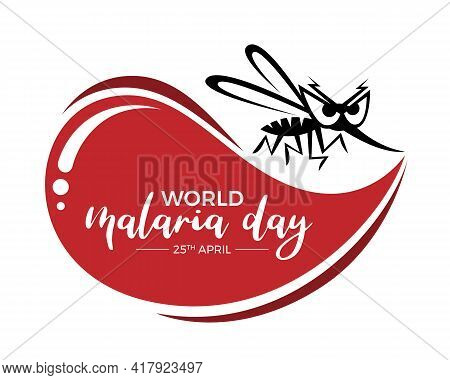 World Malaria Day Banner With Black Mosquito Cartoon Sign And Big Red Drop Blood Vector Design