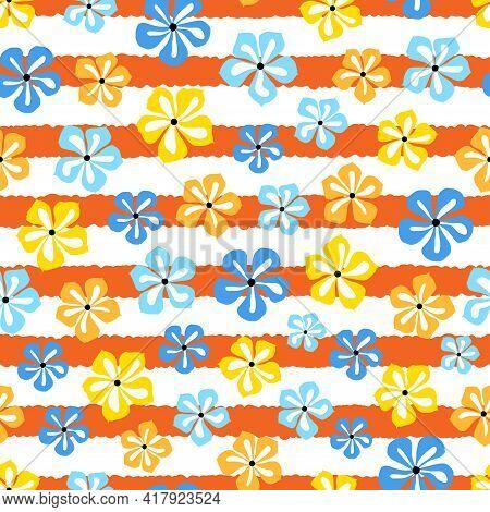Elegant Trendy Vector Floral Seamless Pattern Design Of Beautiful Periwinkle Flowers. Elegant Ditsy