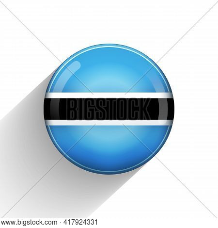 Glass Light Ball With Flag Of Botswana. Round Sphere, Template Icon. National Symbol. Glossy Realist