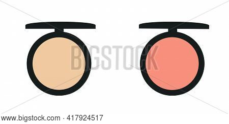 Make-up, Pink And Peach Blush Blush For Facial Tone Correction, Vector Isolated Object On A White Ba