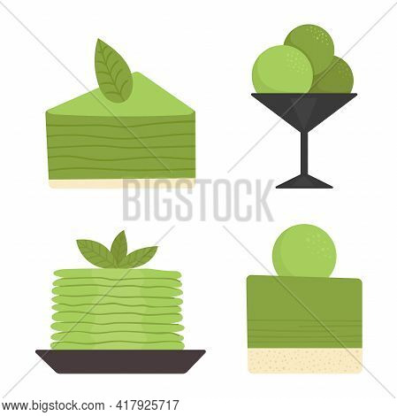 Set Of Desserts With Matcha Tea. Japanese Traditional Tea Ceremony. Green Tea, Healthy Food, Dessert