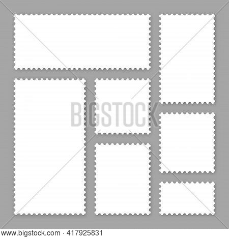Blank White Postage Stamps Collection. Sticky Paper Stamp. Vector Illustration.