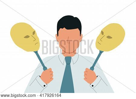 Impostor Syndrome. Split Personality, A Manifestation Of Schizophrenia. A Businessman With Bipolar D