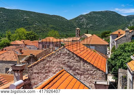 View At Ston Town From The Walls Of Ston, Near Dubrovnik In Croatia. One Of The Major Tourist Attrac