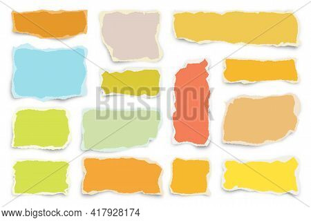 Ripped Colorful Paper Strips. Realistic Crumpled Paper Scraps With Torn Edges. Shreds Of Notebook Pa