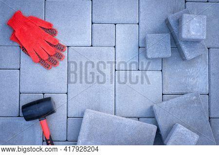 Paving stones paving background closeup
