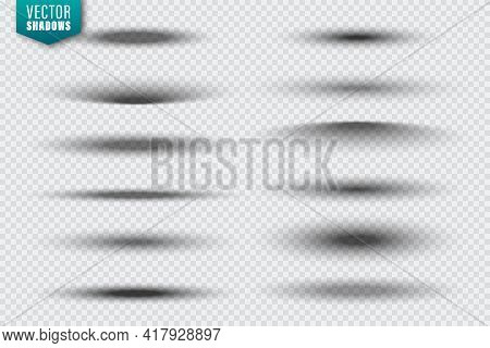 Vector Shadows Collection On Transparent Background. Realistic Shadow Effect For Design. Vector Illu