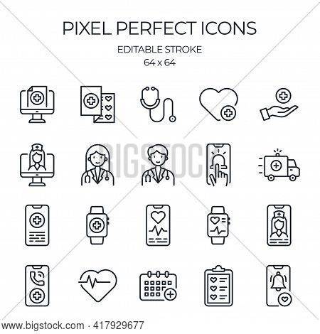 Telemedicine And Virtual Doctor Related Editable Stroke Outline Icons Set Isolated On White Backgrou