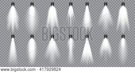 Illuminated Studio Spotlights Collection. Bright Light Beam. Transparent Realistic Effect. Stage Lig