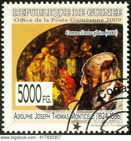 Moscow, Russia - April 22, 2021: Stamp Printed In Guinea Shows Adolphe Monticelli And His Picture As