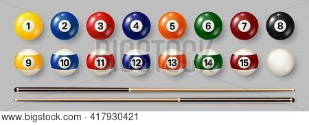 Colorful Billiard, Pool Balls With Numbers On Gray Background. Realistic Glossy Snooker Ball. Vector