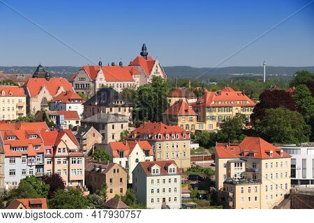 Meissen Town In Germany (free State Of Saxony). Meissen Aerial View Townscape.