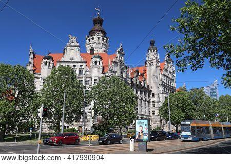 Leipzig, Germany - May 9, 2018: People Ride Electric Tram In Leipzig, Germany. Leipzig Is The 10th B
