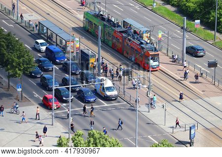 Leipzig, Germany - May 9, 2018: Street Traffic Of Leipzig City, Germany. Leipzig Is The 10th Biggest