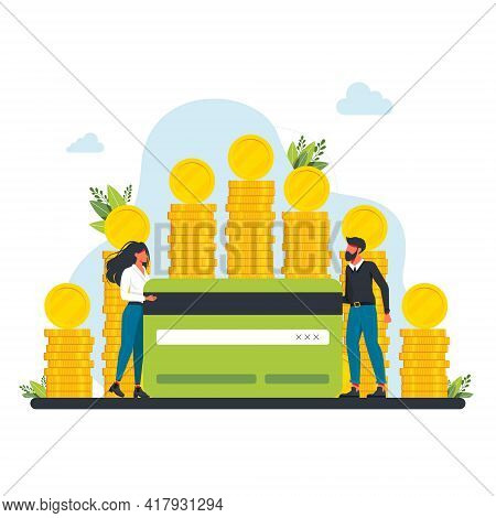 People Near A Large Pile Of Coins Are Holding A Bank Credit Card. Happy Successful Characters With A
