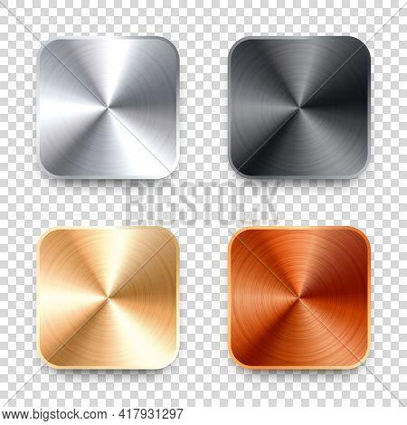 Realistic Square Metal Chrome Button. Steel Volume Control Knob. Application Interface Design Elemen