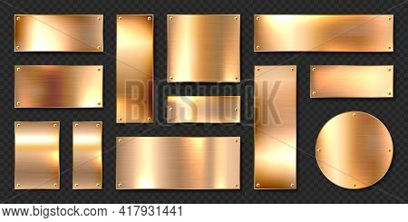 Realistic Shiny Metal Banners Set. Brushed Steel Plate With Screws. Polished Copper Metal Surface. V