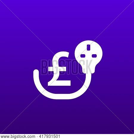 Electricity Costs Icon With Uk Electric Plug