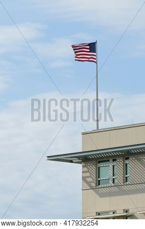 Berlin, Germany, April 16, 2021, Flag With Stars And Stripes On The U.s. Embassy In Berlin Near The