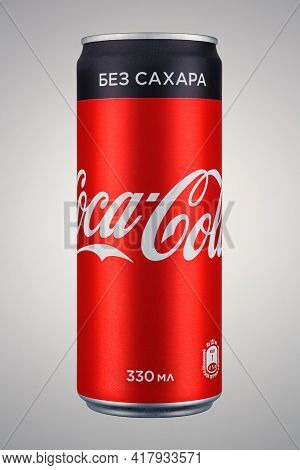 Moscow, Russia - April 07, 2021: Coca-cola Sugar Free In Red Aluminum Can With Black Stripe On Grey