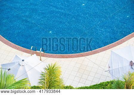 Top View Big Swimming Pool At The Edge Of The Pool Side Non Slip Tiles. Stick With The Pool Stairs.