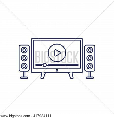 Home Theater Line Icon On White, Vector