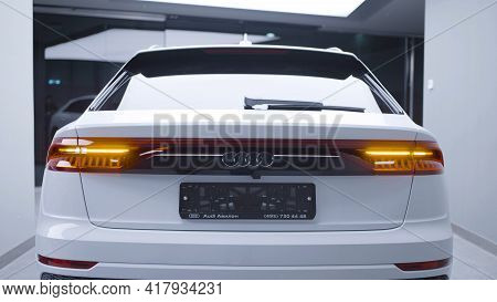 Russia, Moscow - April, 2020: Rear View Of New Expensive Car. Action. Stylish Rear Lights Of New Car