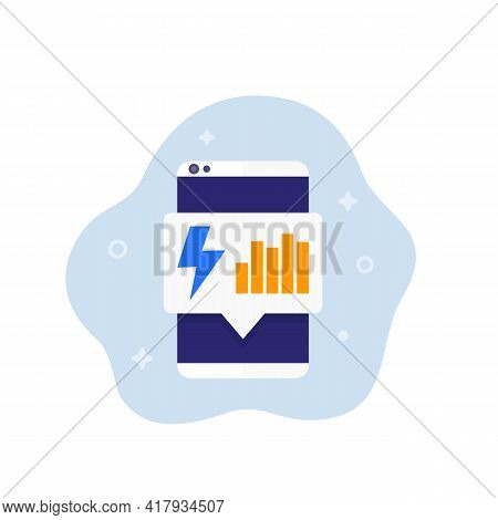 Electric Consumption Icon With A Phone, Vector