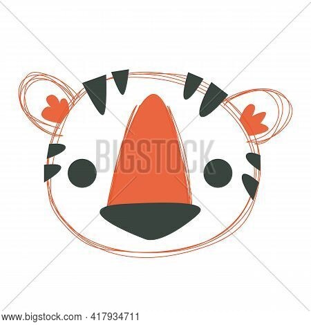 Cute Baby Tiger Cartoon Avatar. Portrait Of The Amur Red Wild Beast. Isolated On White Background He