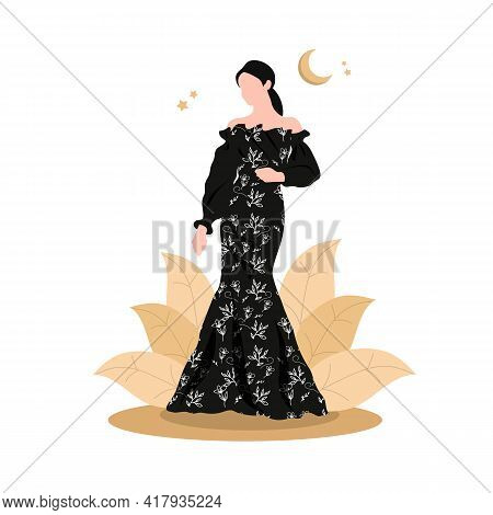 Young Girl Model In A Black Dress With A Beautiful Pattern. Refined Arab Girl In An Elegant Black Dr