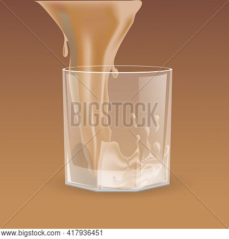 Beige Beverage Pouring Into Transparent Glass For Whiskey, Scotch, Bourbon Vector Cartoon Illustrati