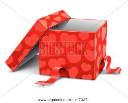 Red Opened Cardboard Box With Hearts