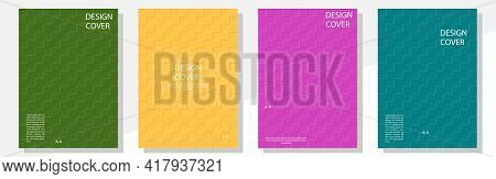 Geometric Cover Design Templates A-4 Format. Editable Set Of Layouts For Covers Of Books, Magazines,