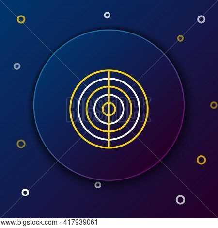 Line Earth Structure Icon Isolated On Blue Background. Geophysics Concept With Earth Core And Sectio