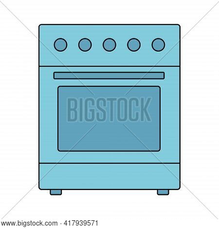 Electric Stove, Gas Stove, Oven Icon. For Cooking Food. Vector Illustration In Flat Line Style On A