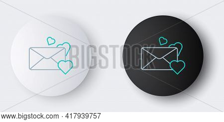 Line Envelope With Valentine Heart Icon Isolated On Grey Background. Message Love. Letter Love And R