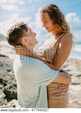 January 28, 2020. Bali, Indonesia. Happy Caucasian Couple Relax At Tropical Sandy Beach. Honeymoon I