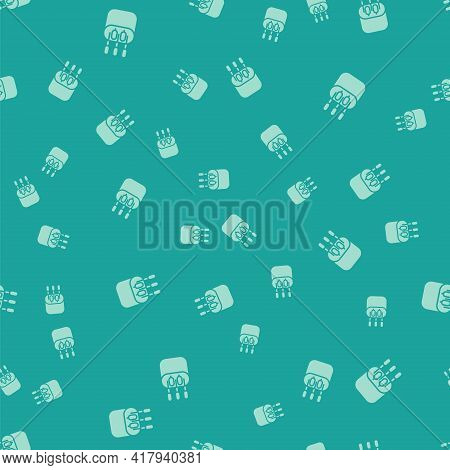 Green Cotton Swab For Ears Icon Isolated Seamless Pattern On Green Background. Vector Illustration