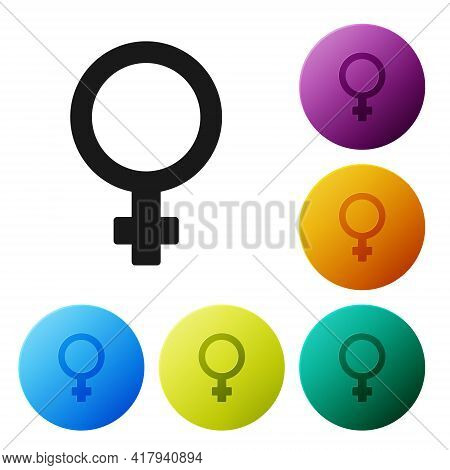 Black Female Gender Symbol Icon Isolated On White Background. Venus Symbol. The Symbol For A Female