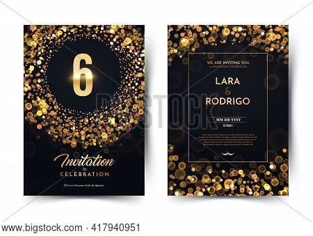 6th Years Birthday Vector Black Paper Luxury Invitation Double Card. Six Years Wedding Anniversary C