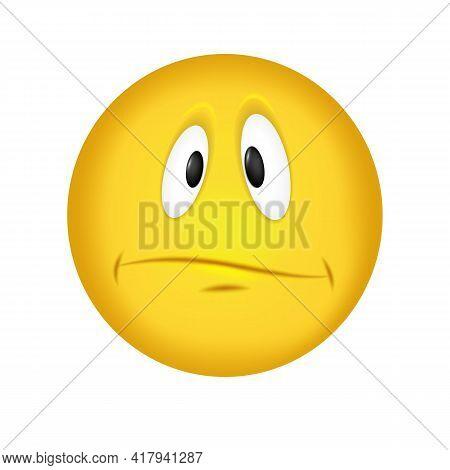 Sad Emoticon. The Upset Face Is Yellow. Vector Illustration