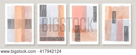 Set Of Abstract Hand Painted Illustrations For Wall Decoration Art, Postcard, Social Media Banner, B