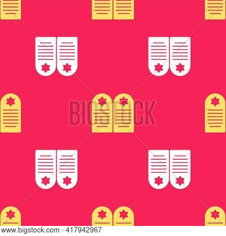 Yellow Tombstone With Star Of David Icon Isolated Seamless Pattern On Red Background. Jewish Grave S