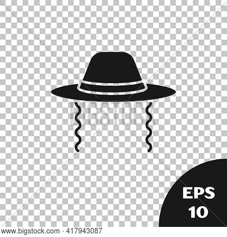 Black Orthodox Jewish Hat With Sidelocks Icon Isolated On Transparent Background. Jewish Men In The