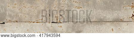 Light Distressed Rusty Metal Texture Banner. Orange Corrosion Decay Grungy Aluminum Backdrop. Broken