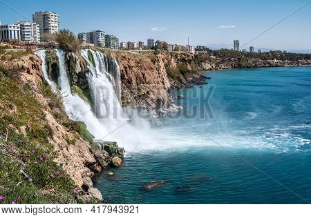 Lower Düden Falls Drop Off A Rocky Cliff Falling From About 40 M Into The Mediterranean Sea In Amazi