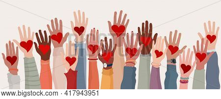 Arms And Hands Raised. Group Of Diverse People With Heart In Hand. Charity Donation And Volunteer Wo
